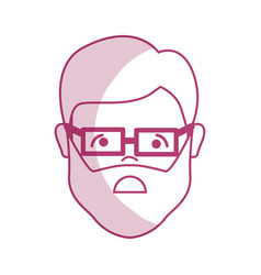 silhouette sad man head and face with glasses vector image