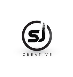 sj brush letter logo design creative brushed vector image