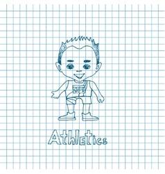 Sketch cartoon boy athelete vector
