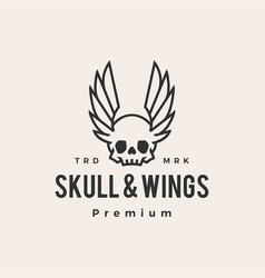 skull wings hipster vintage logo icon vector image