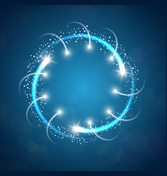sparkles blue background with stars round frame vector image
