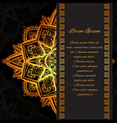 square luxury greeting card with golden tracery vector image