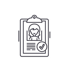 status approved line icon concept status approved vector image