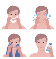 Steps handsome man shaving with foam and cleaning vector