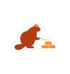 Stylish paper sticker on white background beaver vector