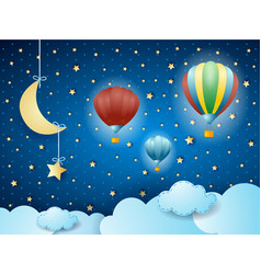 Surreal cloudscape with hanging moon and balloons vector