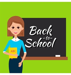 Teacher with Book and Back to School Blackboard vector