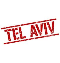 Tel Aviv red square stamp vector image
