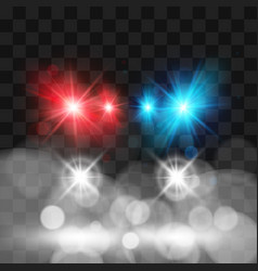 Template siren police car headlights vector