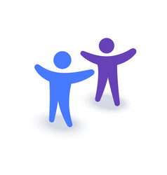 Two people with hands up logo or icon family vector