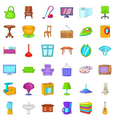 vacuum cleaner icons set cartoon style vector image