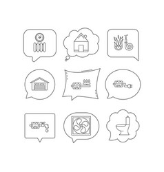 ventilation garage and heat radiator icons vector image