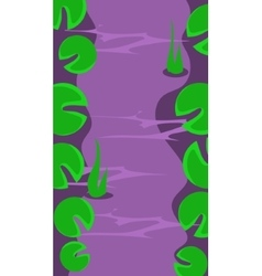 Vertical landscape river with leaves vector