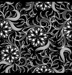 vintage floral monochrome black and white seamless vector image