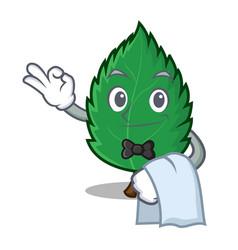 Waiter mint leaves mascot cartoon vector