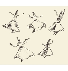 Whirling dervishes mevlana sufi hand drawn sketch vector image