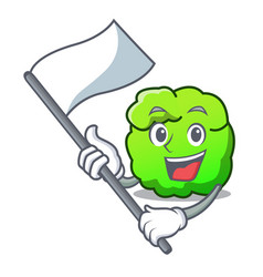 With flag shrub mascot cartoon style vector