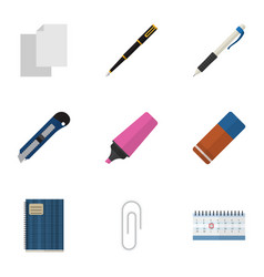 flat icon stationery set of copybook fastener vector image vector image