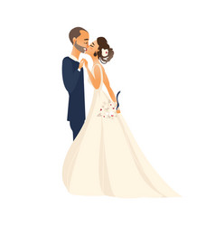 Groom and pride kiss each other isolated vector