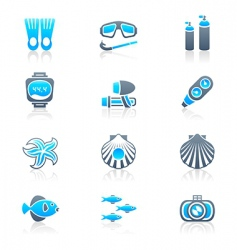 scuba diving icons marine vector image vector image