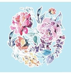 watercolor floral round frame of red roses vector image vector image
