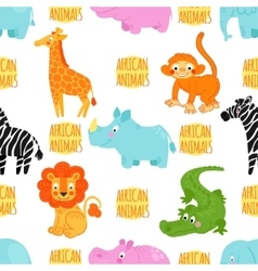 African animals seamless pattern vector image
