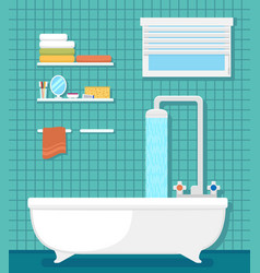 bathroom interior with bath and shower vector image