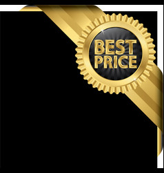 Best price golden label with ribbons vector image