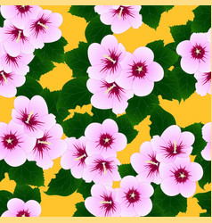 pink hibiscus syriacus - rose of sharon on yellow vector image