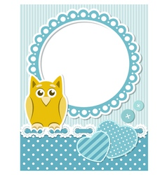 Baby owl blue scrapbook frame vector image vector image