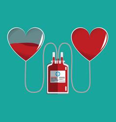 bag transfusion hearts blood vector image vector image