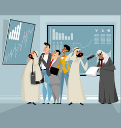 businessmen viewing results of trading vector image