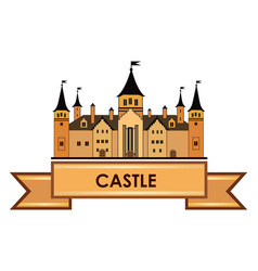 castle building sign travel landmark label fairy vector image vector image