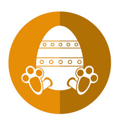 easter egg with bunny paw shadow vector image