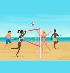 people having fun playing volleyball on the beach vector image vector image