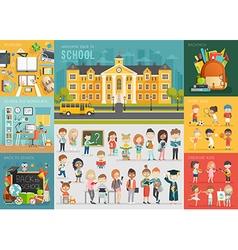 School theme set Back to school workplace school vector image vector image