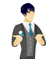 young asian confused groom shrugging shoulders vector image vector image