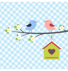 Birds sings in springtime vector image vector image