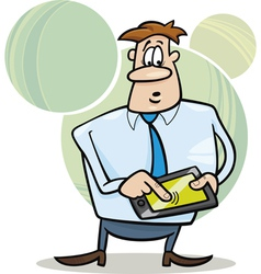 businessman with tablet vector image vector image