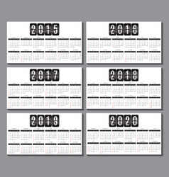 calendar grid for 2015 2016 2017 2018 2019 2020 vector image