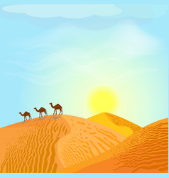 desert with dunes and camels sunset in blue sky vector image