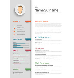 professional resume cv with colored bookmarks vector image vector image