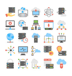 set of web hosting flat icons vector image vector image