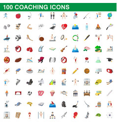 100 coaching icons set cartoon style vector image