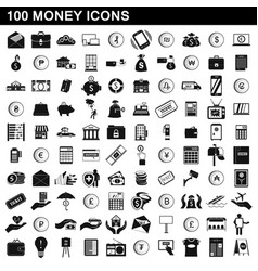 100 money icons set simple style vector