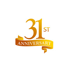 31 year ribbon anniversary vector