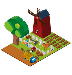 3d design for farmland with farmer and animals vector image