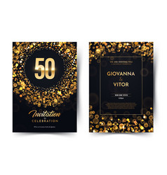 50th years birthday black paper luxury vector