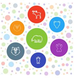 7 alaska icons vector image