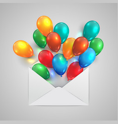 An envelope with colorful ballons vector